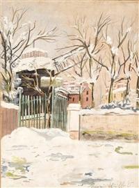 moulin de la galette sous la neige, montmartre by maurice utrillo