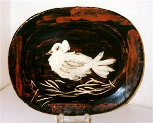 colombe mate (dove on straw bed) by pablo picasso