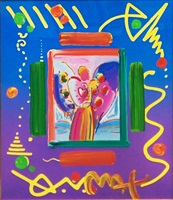 angel with heart overpaint by peter max