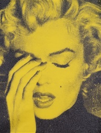 marilyn crying – chartreuse & black by russell young