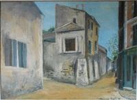 la belle gabrielle et la rue saint-vincent by maurice utrillo