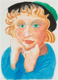 celia with green hat (from moving focus series) by david hockney