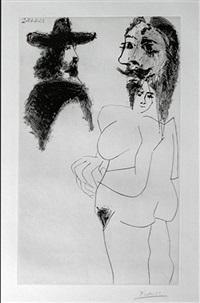 beau gentilhomme espagnol et femme à barbe (b. 1743) by pablo picasso