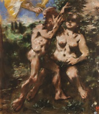 adam and eve: expulsion by jack levine