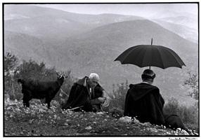 "greece. crete. 1964. shepherds with goat. ""a greek portfolio"" by constantine manos"