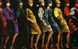 france. paris. models lined up on the runway at the yves st. laurent show. 1985. by richard kalvar