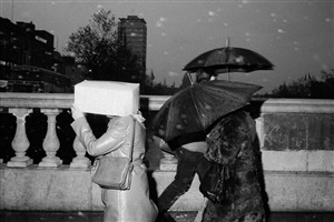 "ireland. dublin. o'connell bridge. from 'bad weather"". october. 1981. by martin parr"