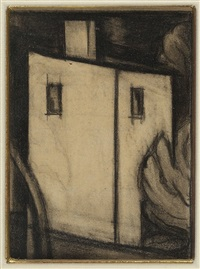 study for in scarlet and black by oscar florianus bluemner