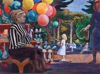 balloon woman at zoo by millard sheets