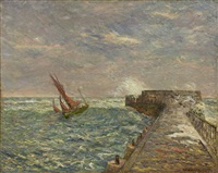 the return of a fishing boat, sables d'olonne, jetty) by maxime maufra