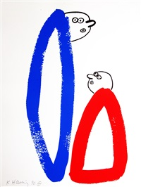 story of red & blue #14 by keith haring