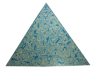blue pyramid by keith haring