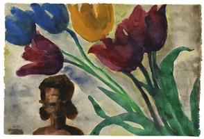 rote, blaue und gelbe tulpen by emil nolde