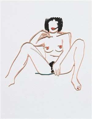 monica sitting with legs spread by tom wesselmann