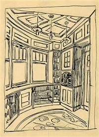 entwurf eines rauchzimmers. rauchzimmer, perspektivische ansicht des viertelkreiserkers by ernst ludwig kirchner