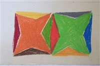 original crayon drawing (design for ten color silkscreen) by larry zox