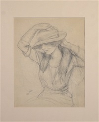 woman with hat by kenneth hayes miller