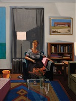 interior with sleeping girl by christopher benson