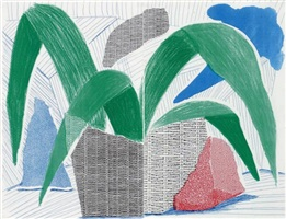green grey & blue plant, july 1986 (diptych) by david hockney