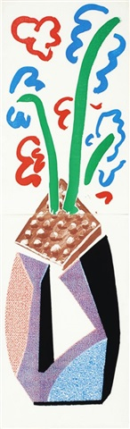 red, blue & green flowers, july 1986 (diptych) by david hockney
