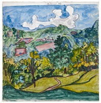 tessiner landschaft mit dorf / ticinese landscape with village by hermann hesse