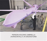 the news: person holding umbrella... by john baldessari