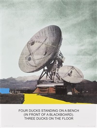 the news: four ducks standing on a bench... by john baldessari