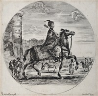 a polish horseman, in profile to the right by stefano della bella
