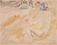paar am strand by ernst ludwig kirchner