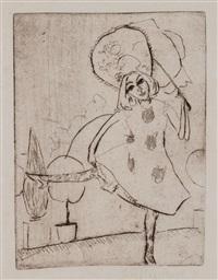blonde pippa in weissem tanzkostüm mit schirm by ernst ludwig kirchner