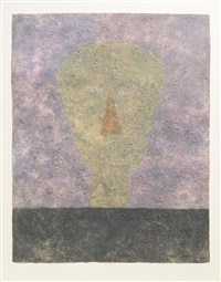 cabeza sobre fondo rosa (head on pink background) by rufino tamayo
