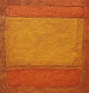 red, orange, orange on red, after mark rothko by vik muniz