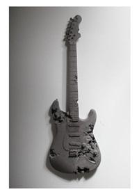 obsidian eroded guitar by daniel arsham