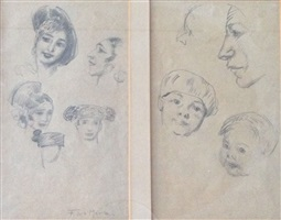 faces - two sketches in one frame by francis luis mora