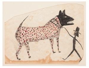 untitled (dog walking man) by bill traylor