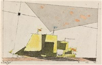 seascape (ship in yellow and apricot) by lyonel feininger