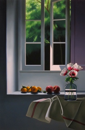 untitled, interior with anemones and fruit by bruce cohen