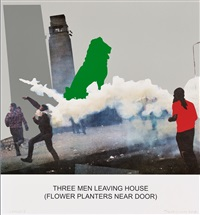 the news: three men leaving house by john baldessari