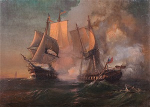 uss constitution in action against hms guerriere by julian o. davidson