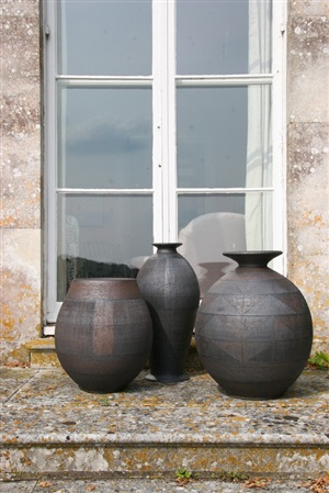 open oval urn, tall slender hand built urn and round hand built urn with small neck and flaring rim by jenifer lloyd jones