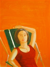 vivien with orange by alex katz