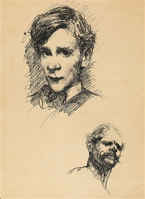 portrait of robin (clifton webb) and another academic study by george wesley bellows