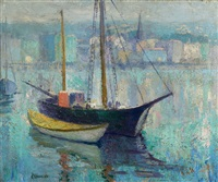 boat scene by ernest lawson