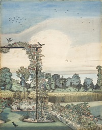 the garden at wood lane house iver heath by paul nash