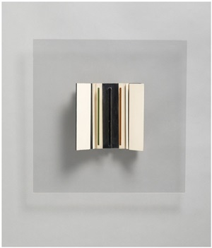 abstract in white, black green and maroon by victor pasmore