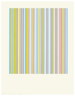 turquoise, red, yellow & blue (increased width) by bridget riley