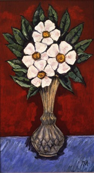 flowers in vase (wild roses) by marsden hartley
