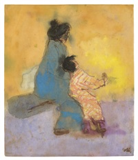 japanese woman with a young girl by emil nolde