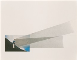 la mia ombra verso l'infinito della cima dello stromboli durante l'alba del 16 agosto 1965 (study c) by giovanni anselmo