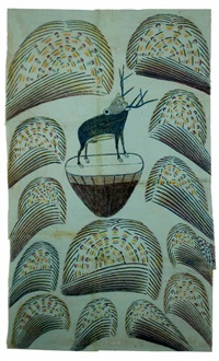untitled (stag on mound with fireworks) by martin ramirez